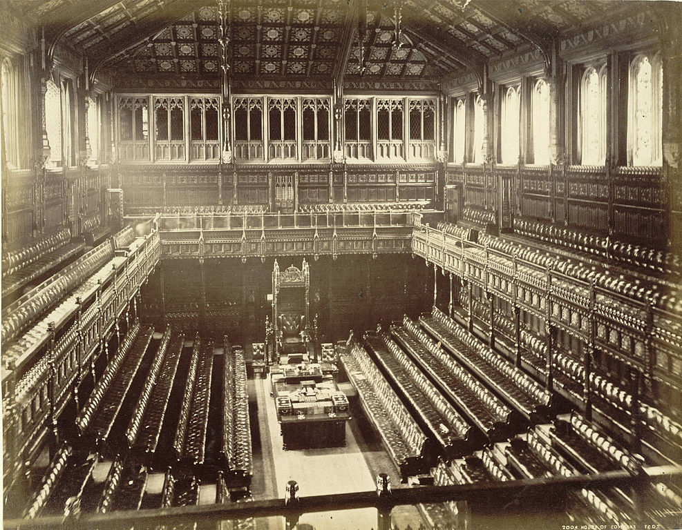 An old photo of the House of Commons.