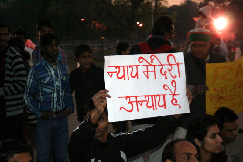 People protesting in India against rape.