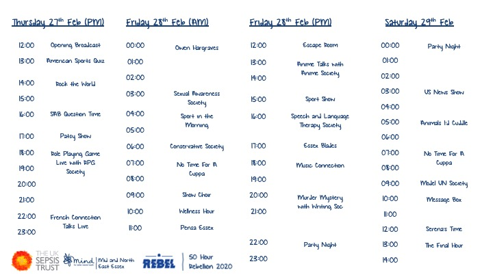 50 Hour Rebellion 2020 Timetable