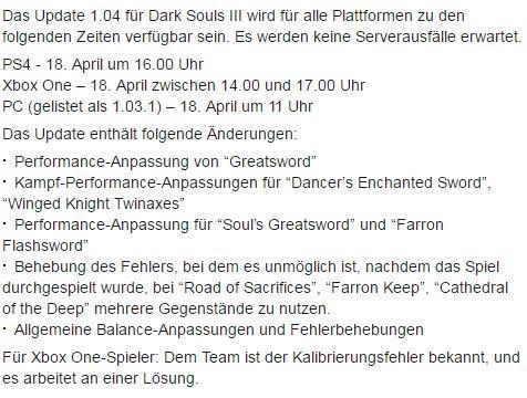 Dark Souls 3 Patchnotes