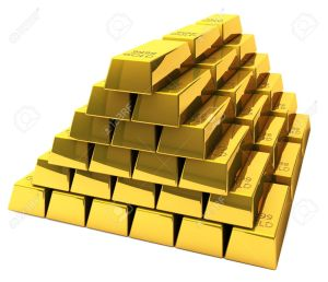 19119186-A-wealthy-man-is-sitting-on-a-pile-of-gold-bars-Stock-Photo