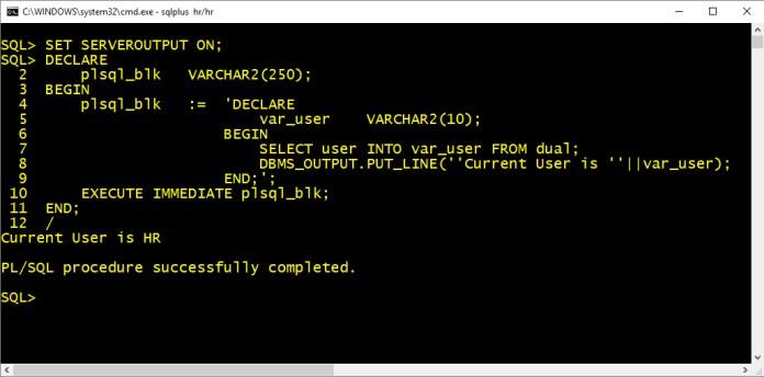 create pl/sql block using execute immediate of dynamic sql by manish sharma