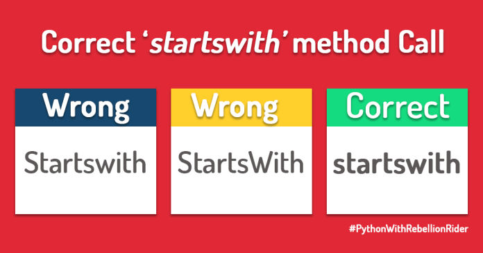 startswith string method of python by Manish Sharma