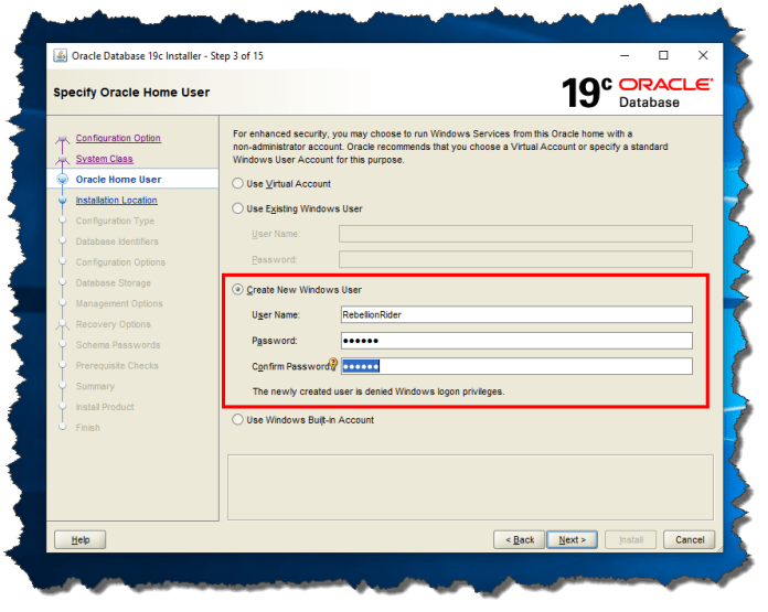 Oracle 19c Screen 3: Specify Oracle Home User.