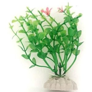 PP047B Plastic Plant Green Bush Pink Flowers 100 mm at Rebel Pets