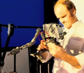 Phil Tibbett with articulated AT-ST