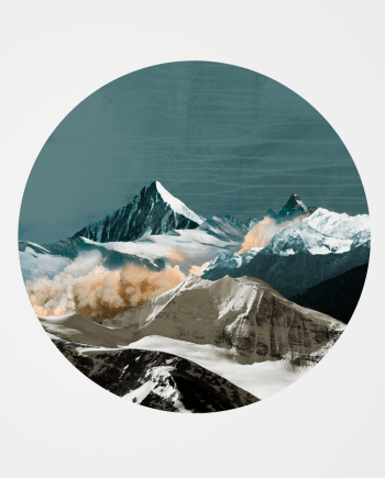 fine art print of a landscape with mountains and smoke in a circle