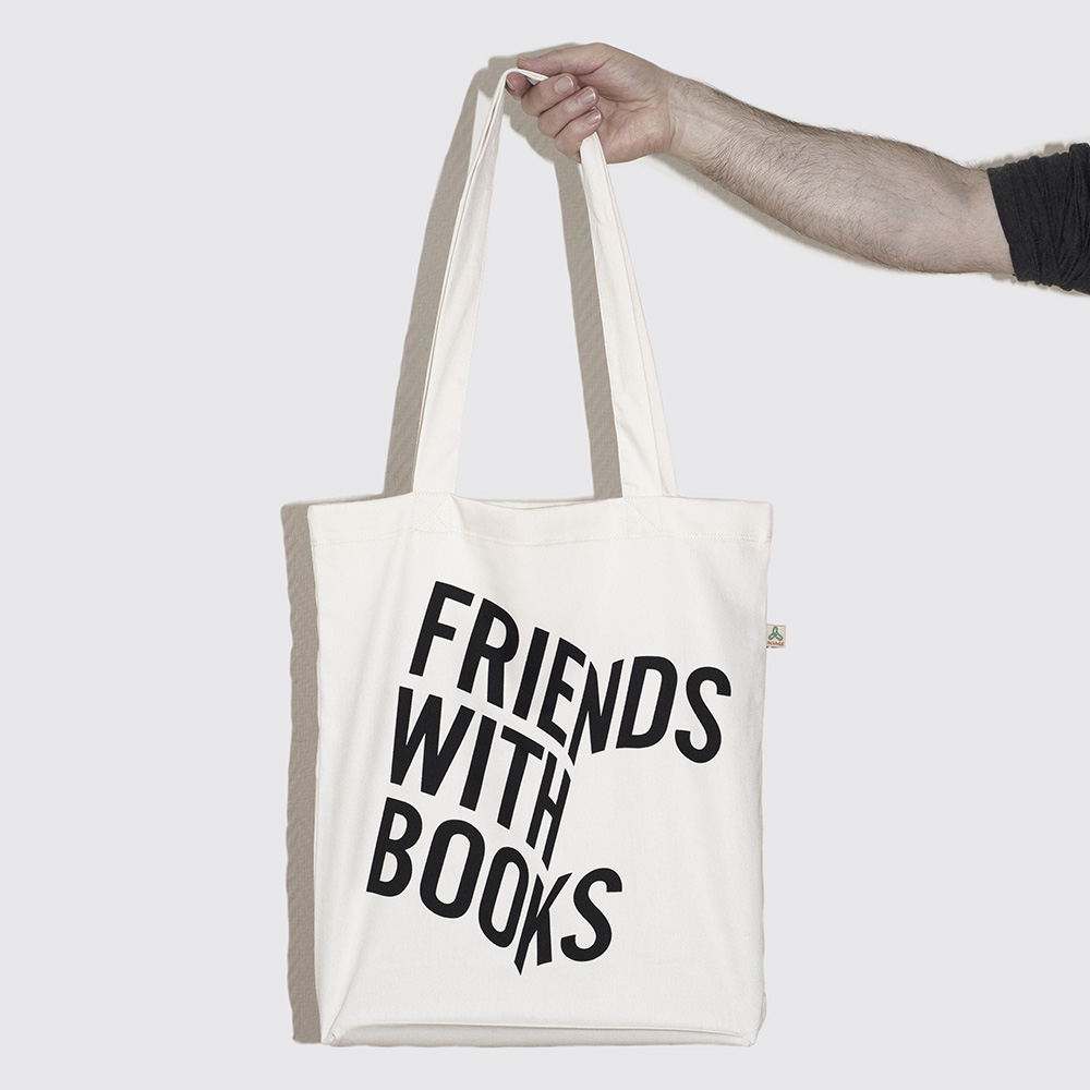 Friends with books recycled tote bags