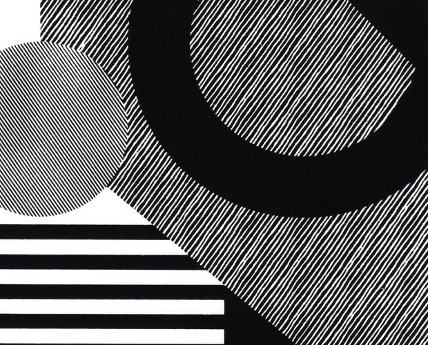 Minimal Geometric Affordable Wall Art. Screen printed Bauhaus style print. Detail of artwork