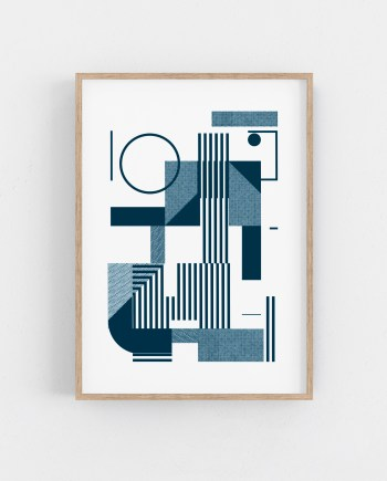 One colour screen print on 300g paper. Minimal bauhaus wall art. Geometric Serigraph
