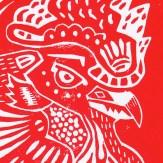 Linoprint Red Detail