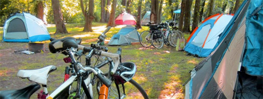 bikes at the camp site