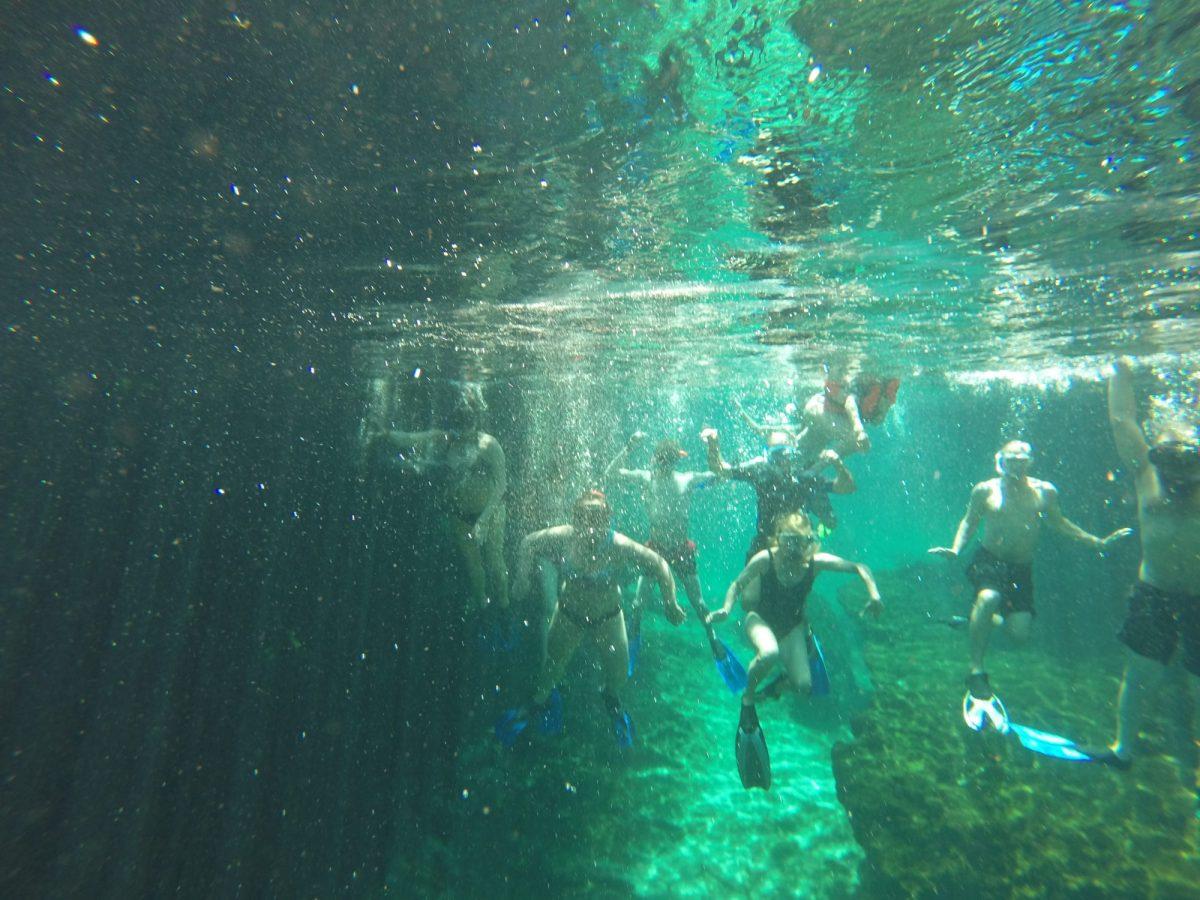 group of people snorkeling underwater