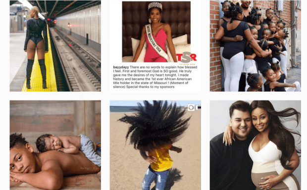 6 images of black women and children looking happy and content