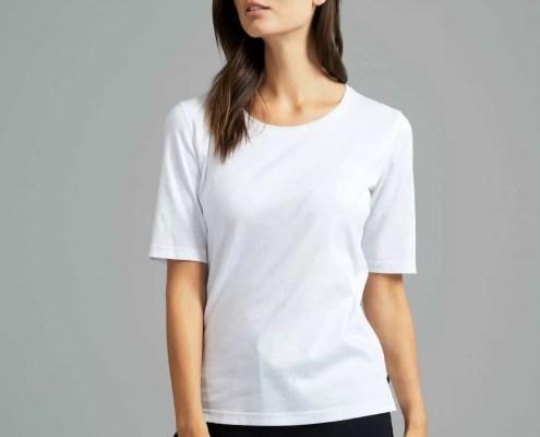 Vam Laack Meisterwerk-T-Shirt für Damen mit Rundhalsausschnitt aus feinstem Swiss Cotton