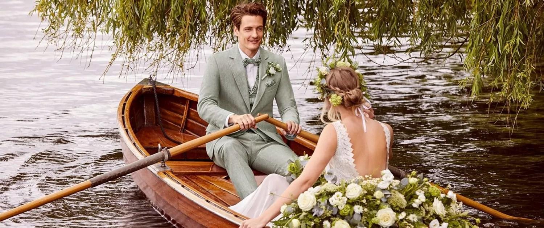 Hochzeitsfahrt im Ruderboot - Stilrichtung Vintage