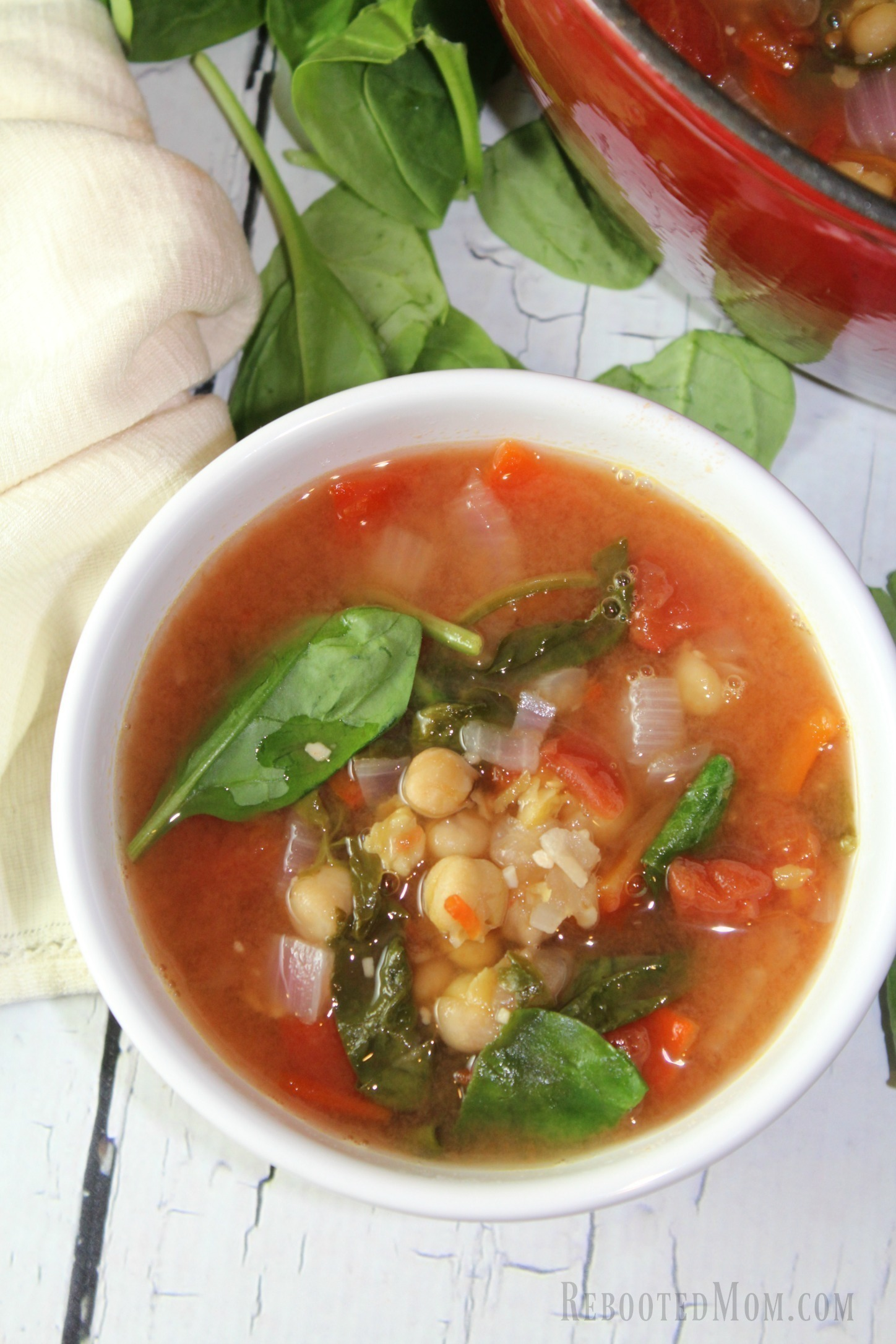 A hearty italian chickpea soup that absorbs the flavors of onion, garlic, roasted red peppers in a flavorful vegetable broth.