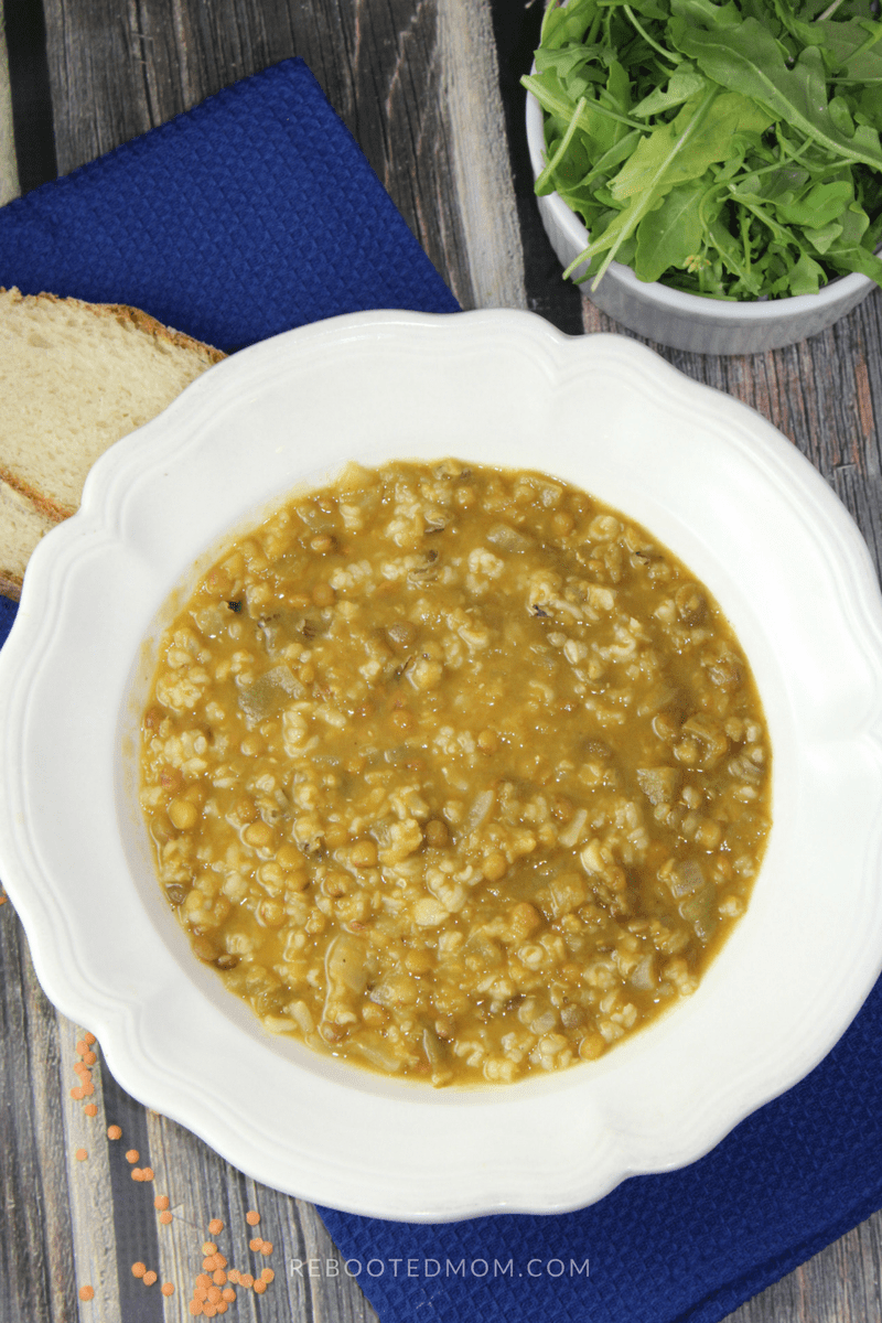 A healthy combination of wild rice and lentils in a wholesome, flavorful veggie broth.