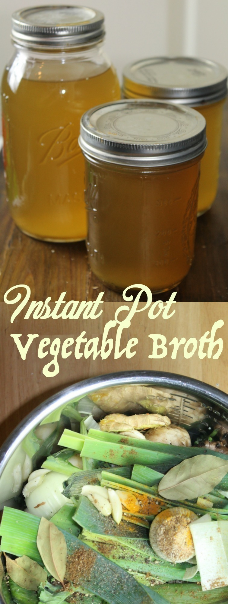 Combine all of your vegetable scraps in the Instant Pot along with a few seasonings to make a rich, homemade vegetable broth from scratch!