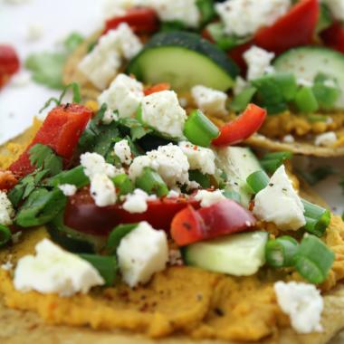 Sweet Potato Hummus and Vegetable Tostadas with Chile Lime Seasoning