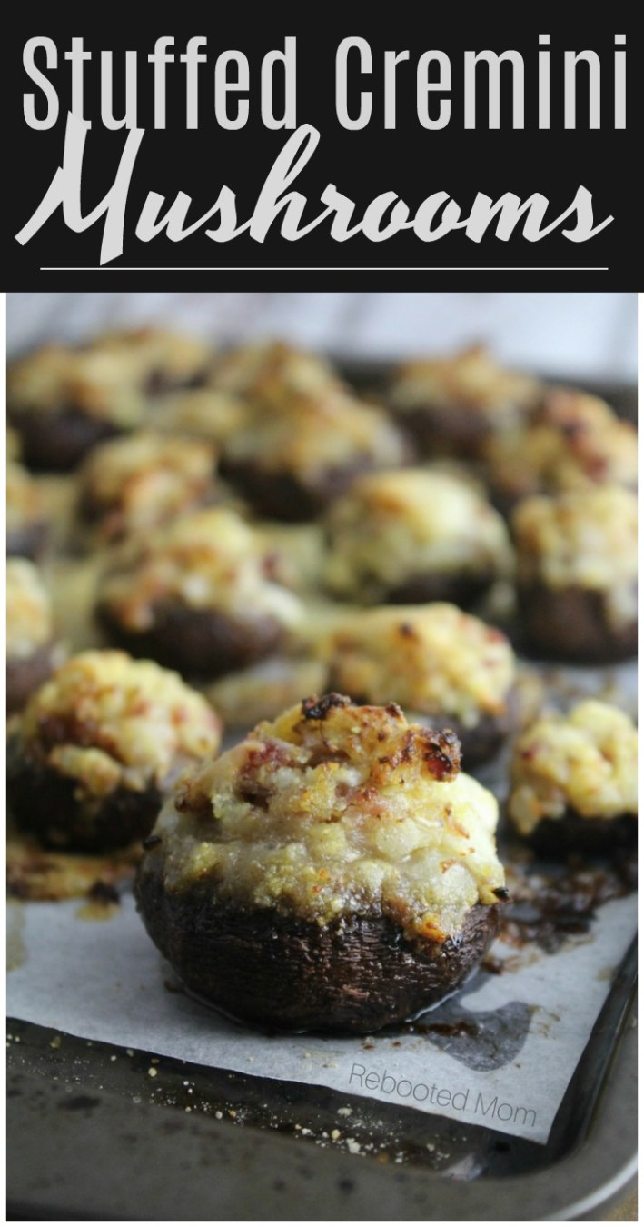 Cremini mushrooms are stuffed with a buttery filling, topped with parmesan and baked to perfection! They are the perfect appetizer! #mushrooms #appetizer #creminimushrooms