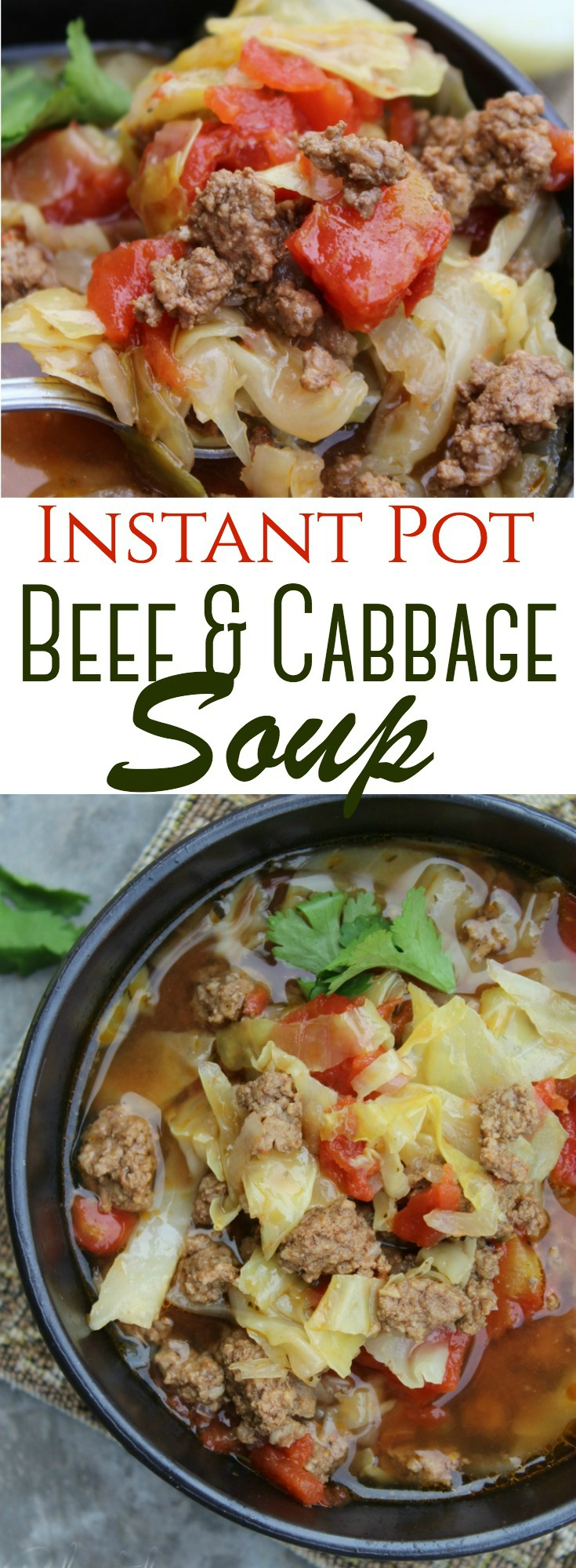 This comforting Instant Pot Beef and Cabbage Soup requires simple ingredients that come together easily in the Instant Pot for a comforting family meal!