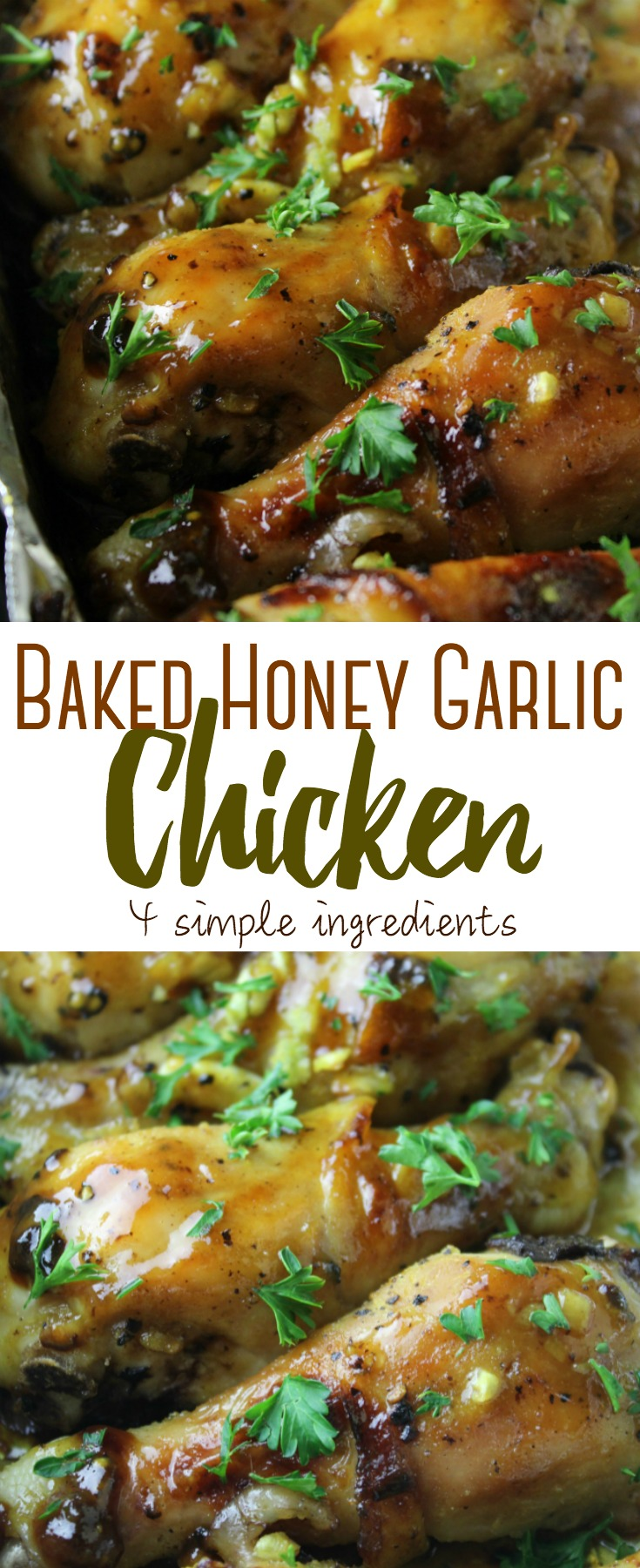 Simple honey garlic chicken drumsticks that are easy to put together with 4 simple ingredients for drumsticks that are finger-lickin' good!!