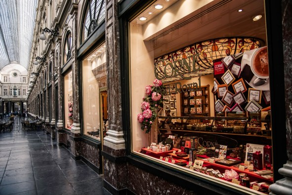 One of many chocolate shops in Belgium