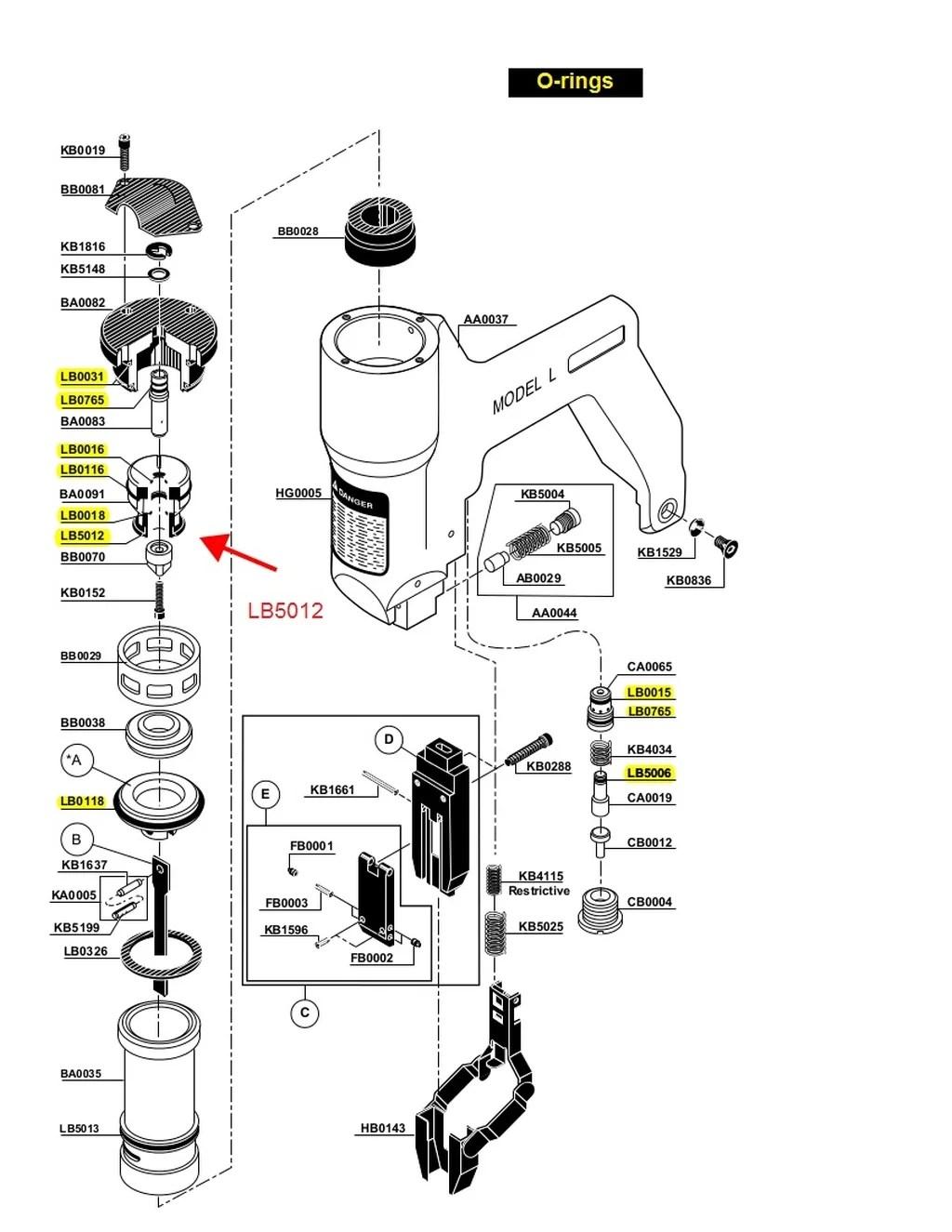 Senco Model L O Ring Kit Lb