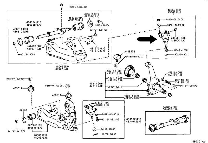 Rótula de suspensión superior Hilux II 43350-39115