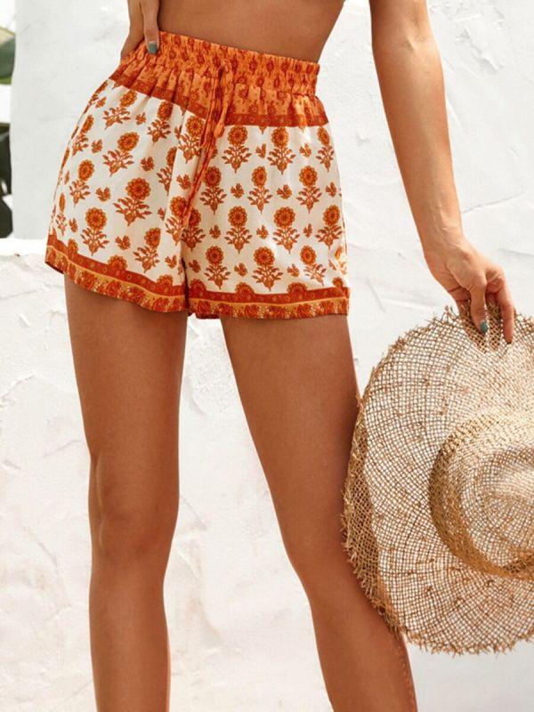 Retro Drawstring Floral Shorts