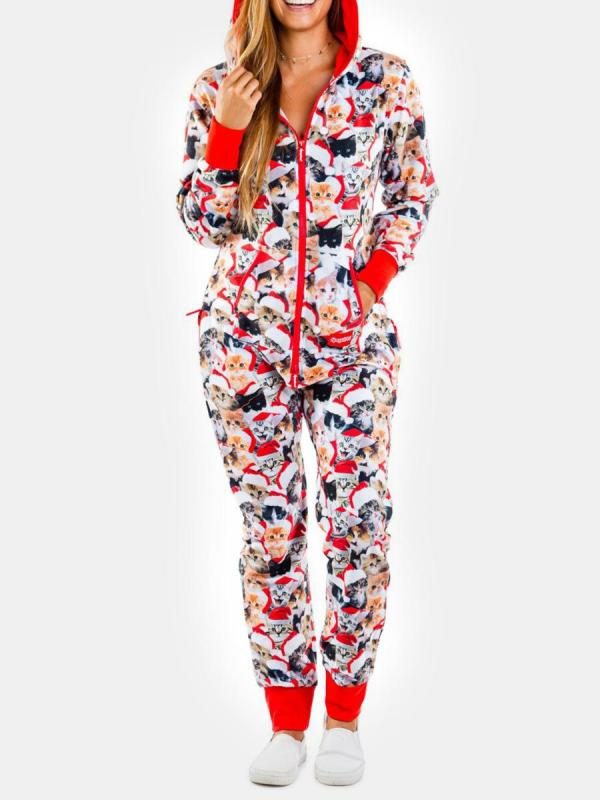 shestar wholesale cute cat print hooded jumpsuit