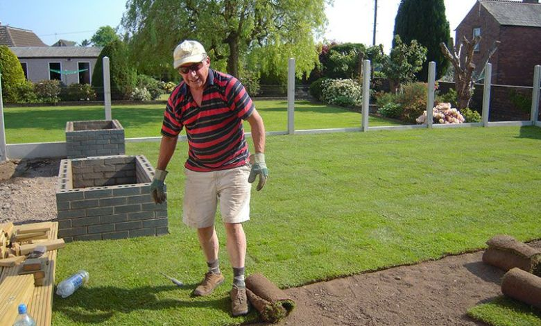Man is doing turfing