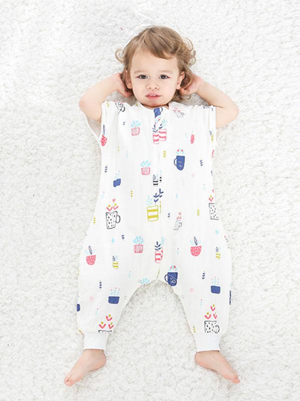 Cute Cartoon Print Cotton Gauze Baby Sleeping Bag Sleeveless