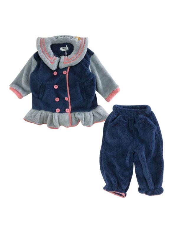 2 Pieces Kid Girl Sleepwear Fleece Set Rabbit Top & Pants