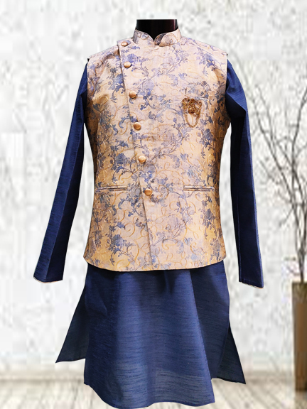 BLUE KURTA WITH PRINTED JACKET- kurta jacket for men