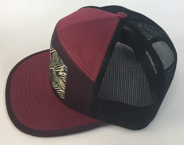 Side View of Berry Red and Purple 7 Panel Movement Print