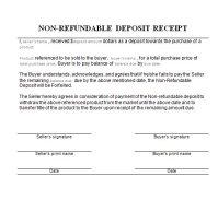 Receipt for Non-refundable Deposit
