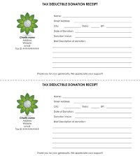 Tax Deductible Donation Receipt