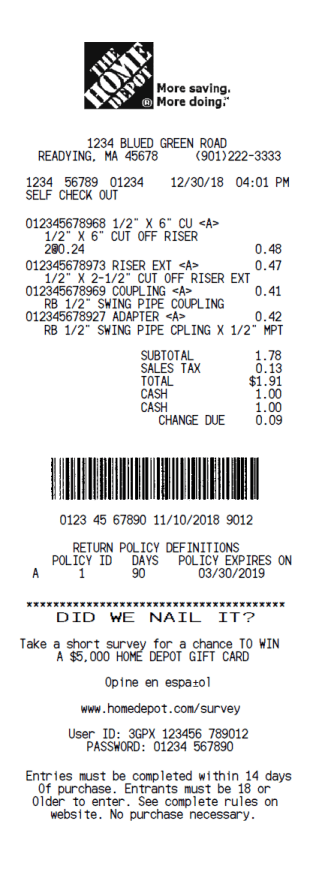 The Home Depot Receipt Template_Receipt Font, Real Invoice