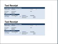 MS Excel Taxi Receipt Template