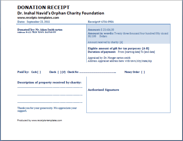 Charitable Donation Receipt Template - FREE DOWNLOAD