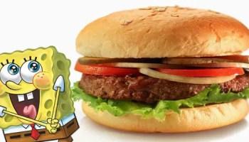 Receita de hamburgúer de siri do Bob Esponja
