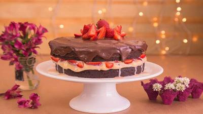Receita de Naked Cake de Brownie