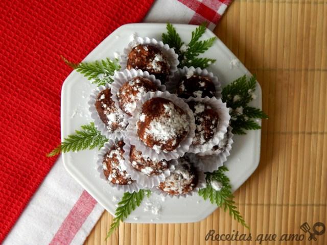 Trufas de chocolate Natal
