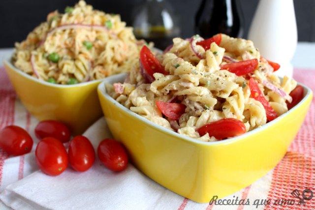 2 receitas de salada de macarrão