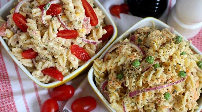 2 opções de salada de macarrão