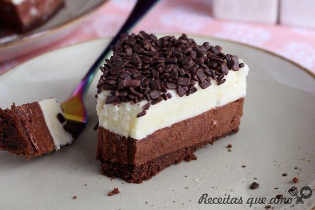 Torta trufada 2 chocolates sem forno