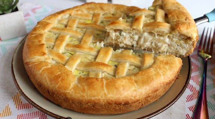 Torta de palmito com cebola
