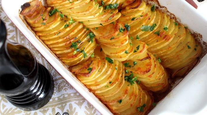 Batata laminada de forno